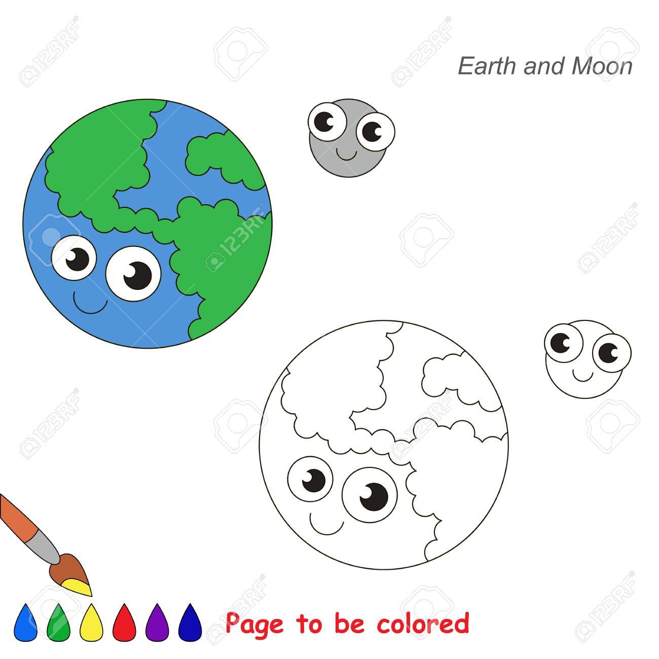 Divertido Planeta De La Tierra Y La Luna Para Colorear, El Libro ...