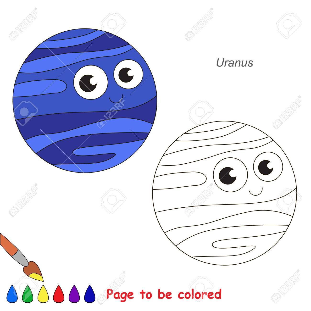 Vettoriale Simpatico Pianeta Urano Da Colorare Il Libro Da
