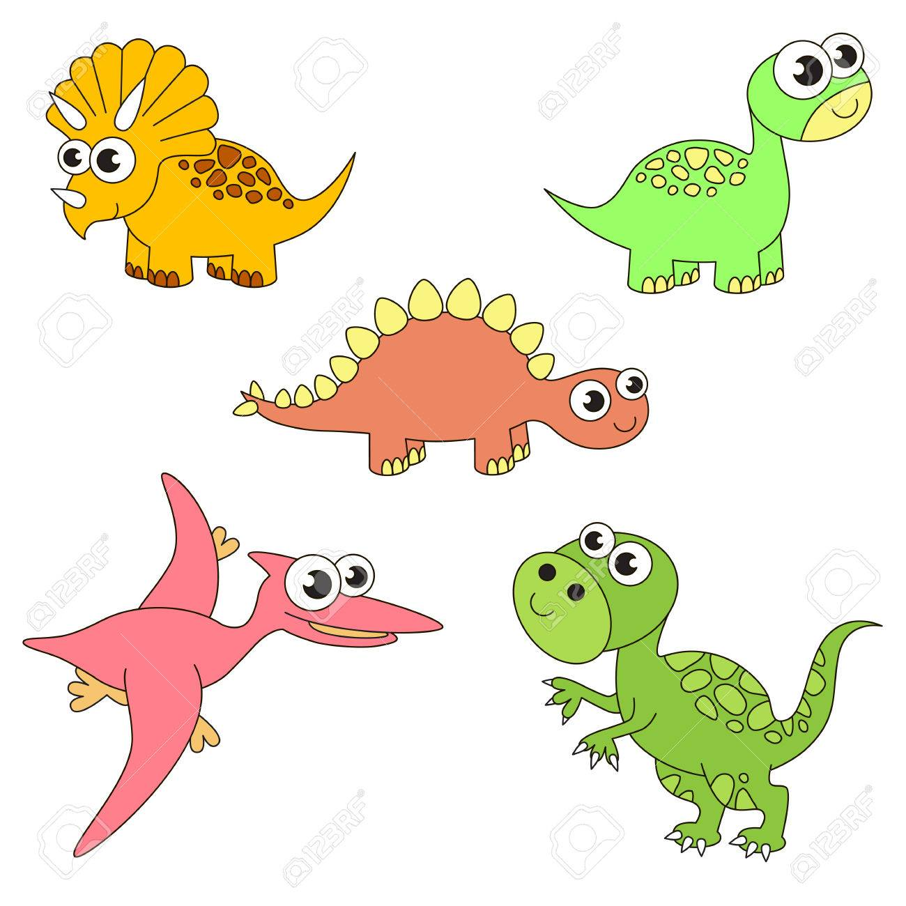 Tremendous Dinosaurus Dino Elements Set Collection Of Coloring Book Template The Group Outline