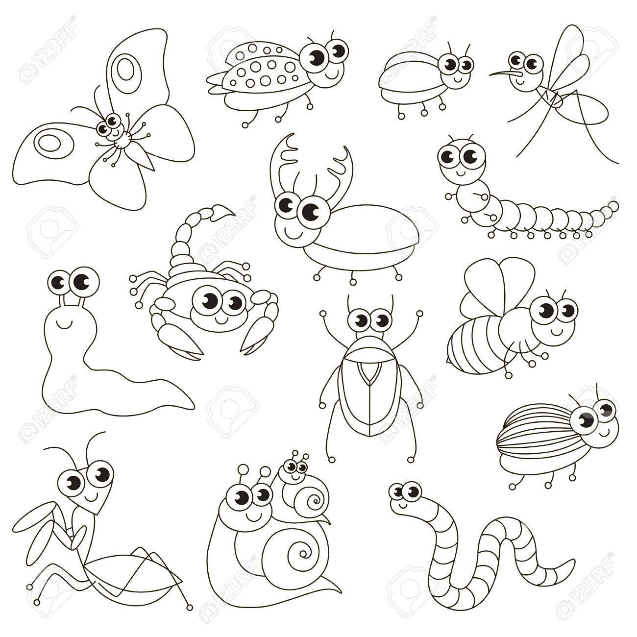Pequeños Insectos Lindos Para Ser Coloreados El Gran Libro Para Colorear Para Niños Preescolares Con Un Nivel De Juego Educativo Fácil
