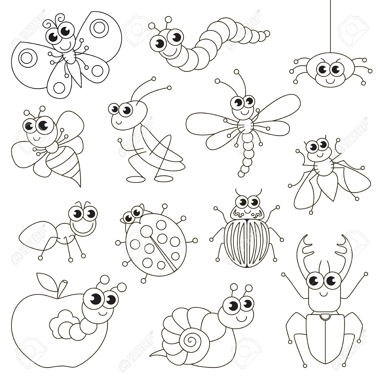 Cute Small Insects Set To Be Colored, The Big Coloring Book For ...