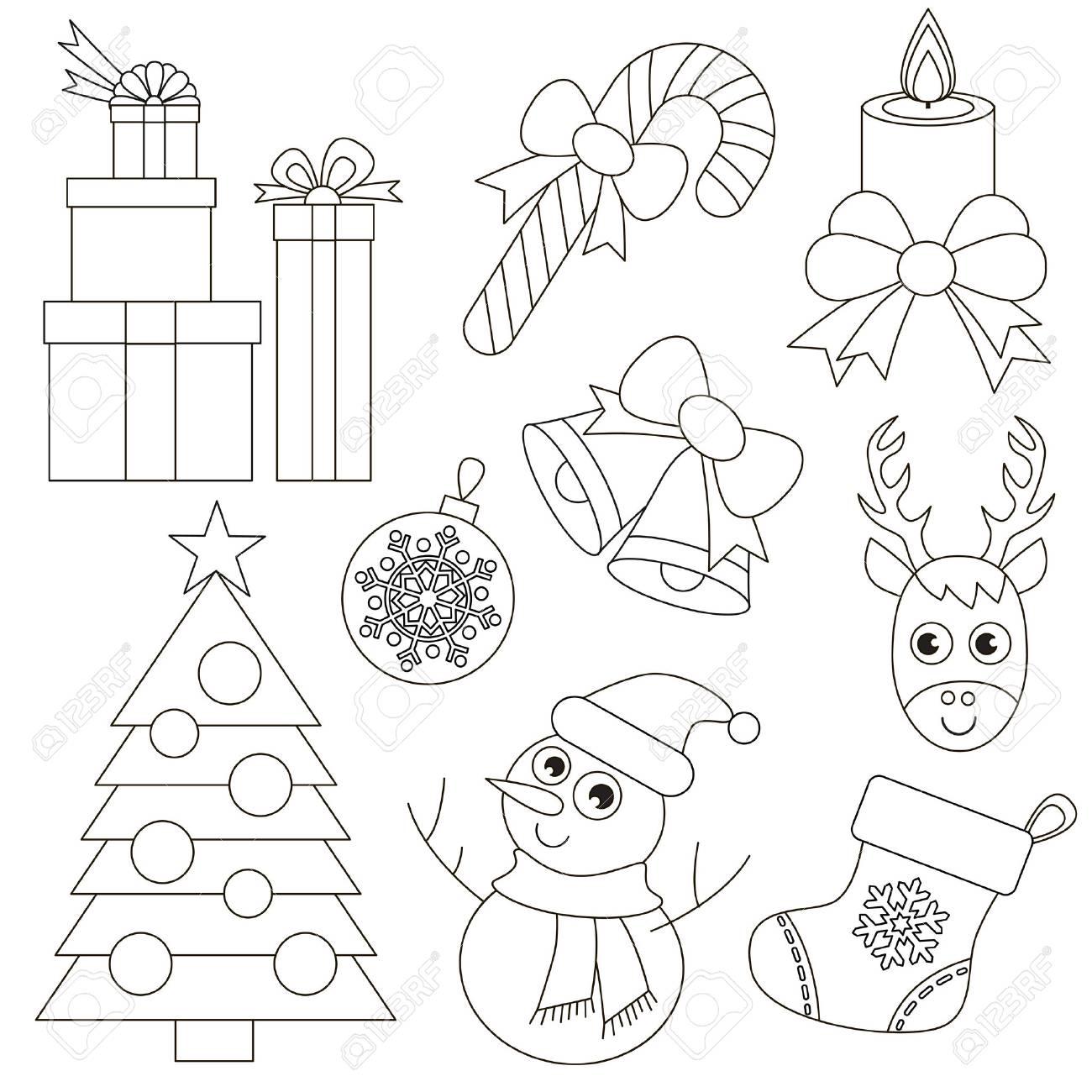 Conjunto De Vacaciones De Navidad Para Colorear El Gran Libro Para Colorear Para Niños En Edad Preescolar Con Fácil Nivel De Juego Educativo