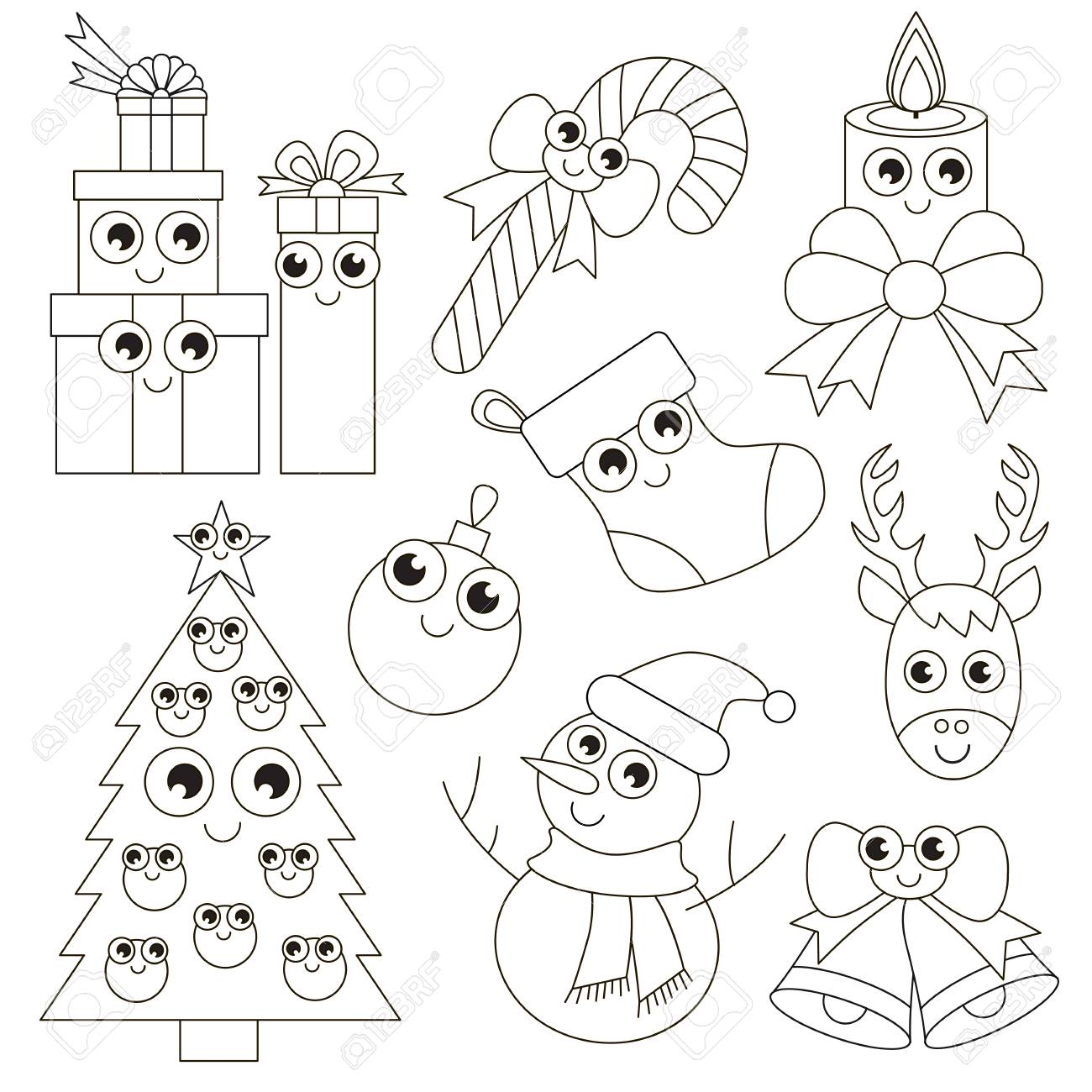 Funny Christmas Holiday Set To Be Colored The Big Coloring Book For Preschool Kids With