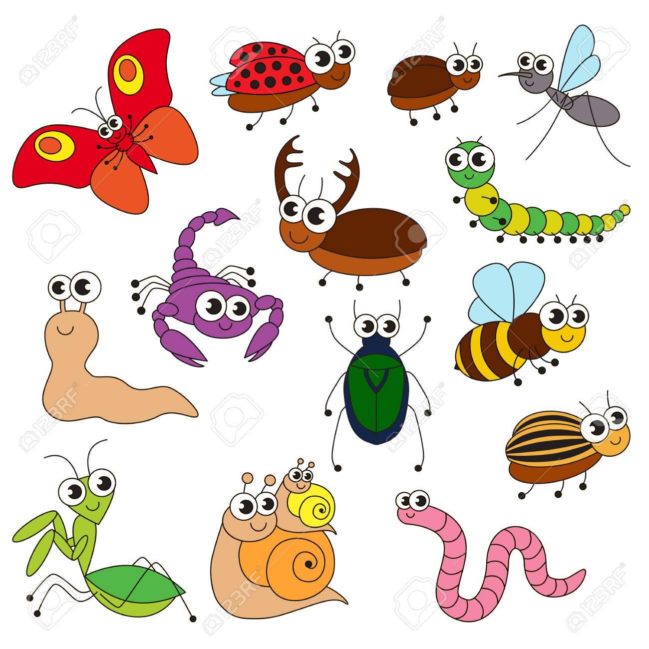 Cute Pequeños Insectos Conjunto De Elementos Colección De Plantilla De Libro Para Colorear El Grupo De Ilustración Digital De Elementos De