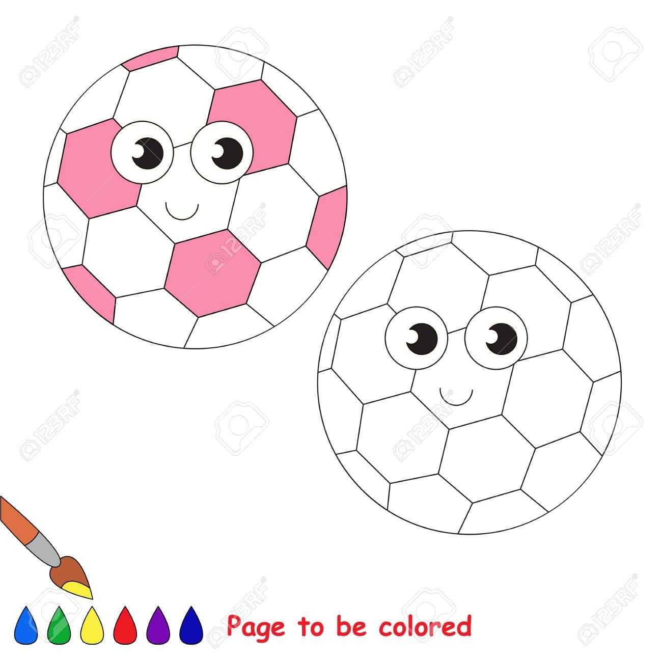 Pelota De Fútbol Rosa Divertido Para Colorear El Libro Para Colorear Para Niños En Edad Preescolar Con Fácil Nivel De Juego Educativo