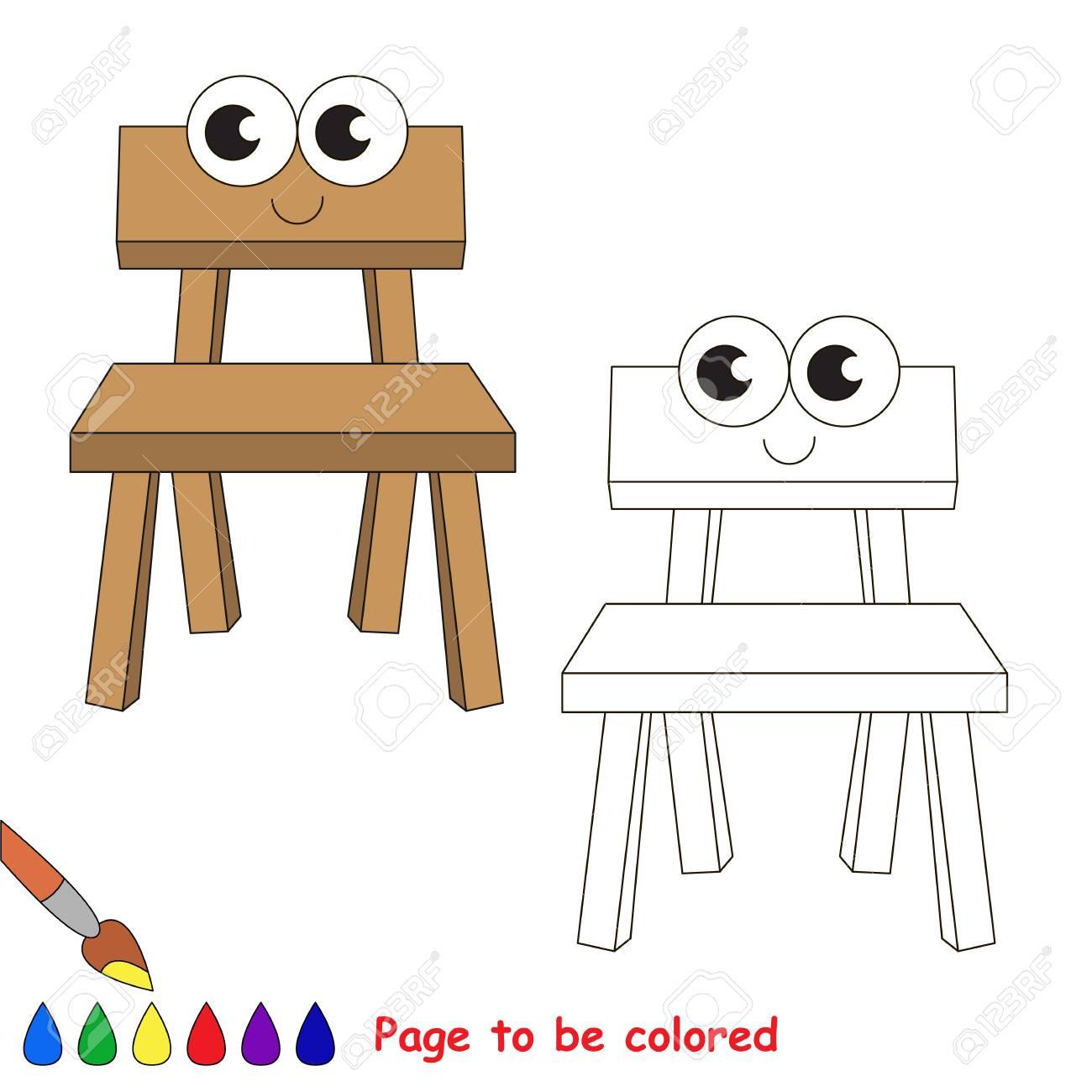 Sedie In Legno Da Colorare.Vettoriale Divertente Sedia In Legno Da Colorare Il Libro Da