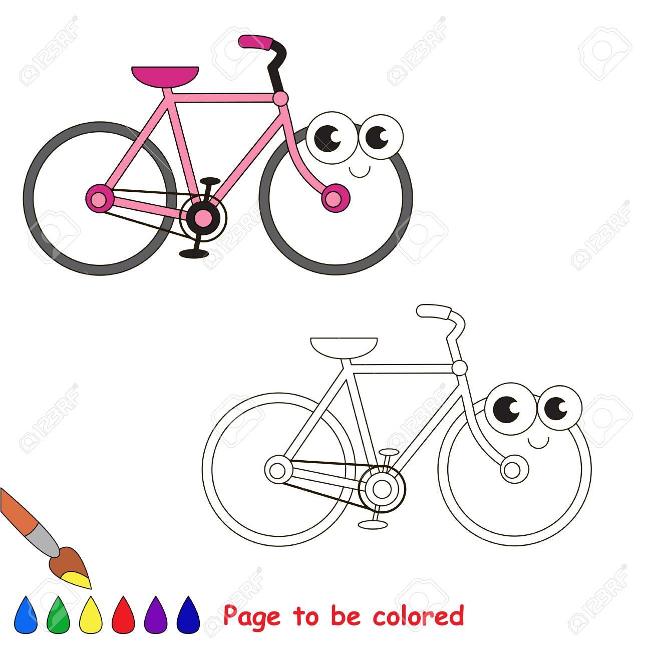 Divertente Bella Bicicletta Rosa Da Colorare Il Libro Da Colorare Per Bambini In Età Prescolare Con Livello Di Gioco Educativo Facile
