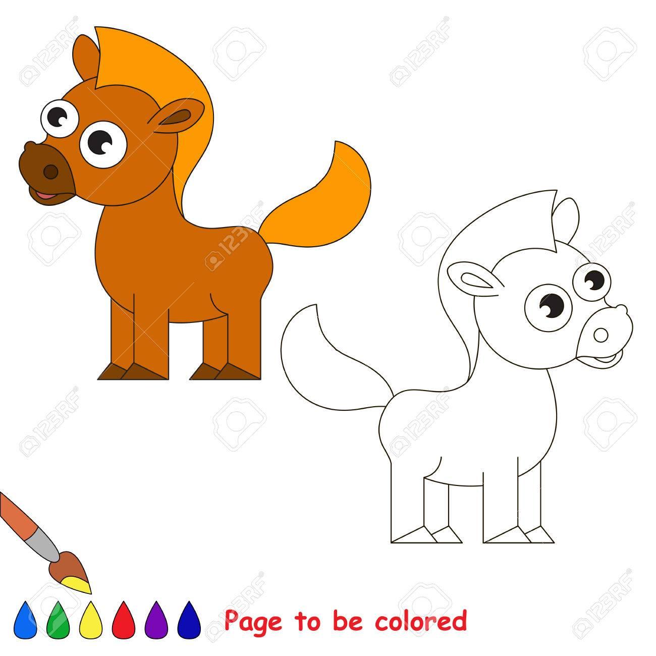 Caballo Marrón Para Colorear El Libro Para Colorear Para Niños De Preescolar Con Nivel De Juego Educativo Fácil
