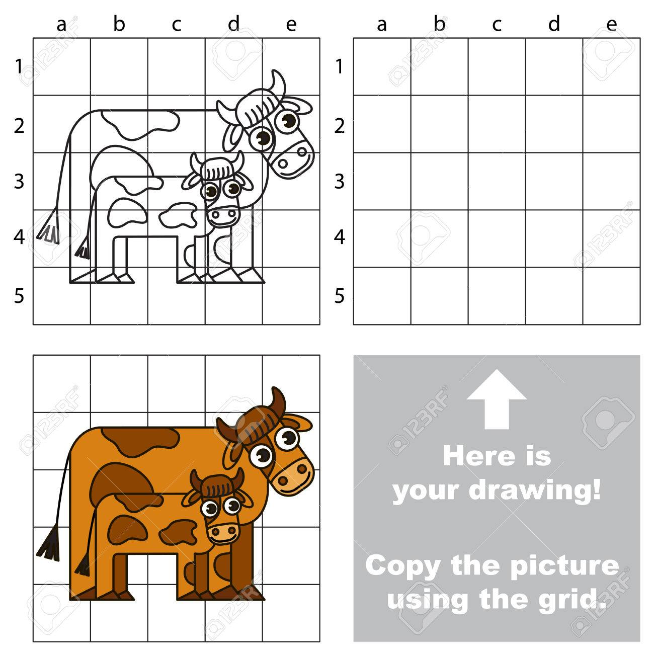 Copy The Picture Using Grid Sells Vector Kid Educational Game