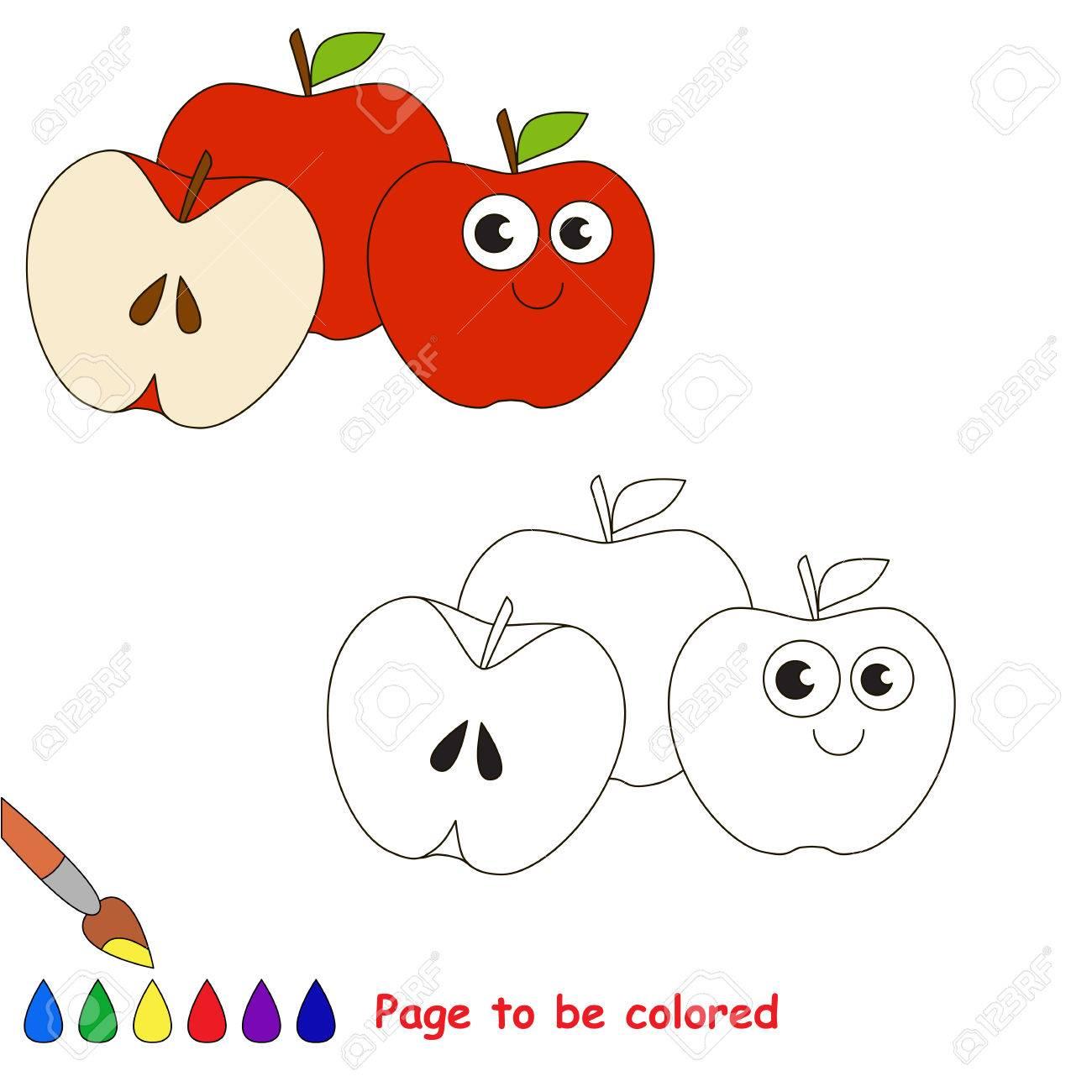 Vettoriale Tre Mele Rosse Da Colorare Il Libro Da Colorare Per