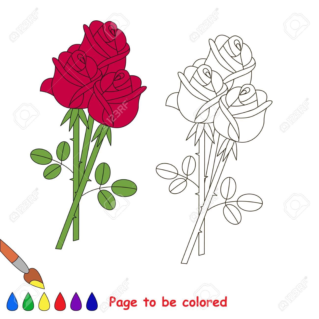 Vettoriale Rose Bouquet Da Colorare Il Libro Da Colorare Per Bambini In Eta Prescolare Con Un Livello Di Gioco Educativo Facile Image 75110058