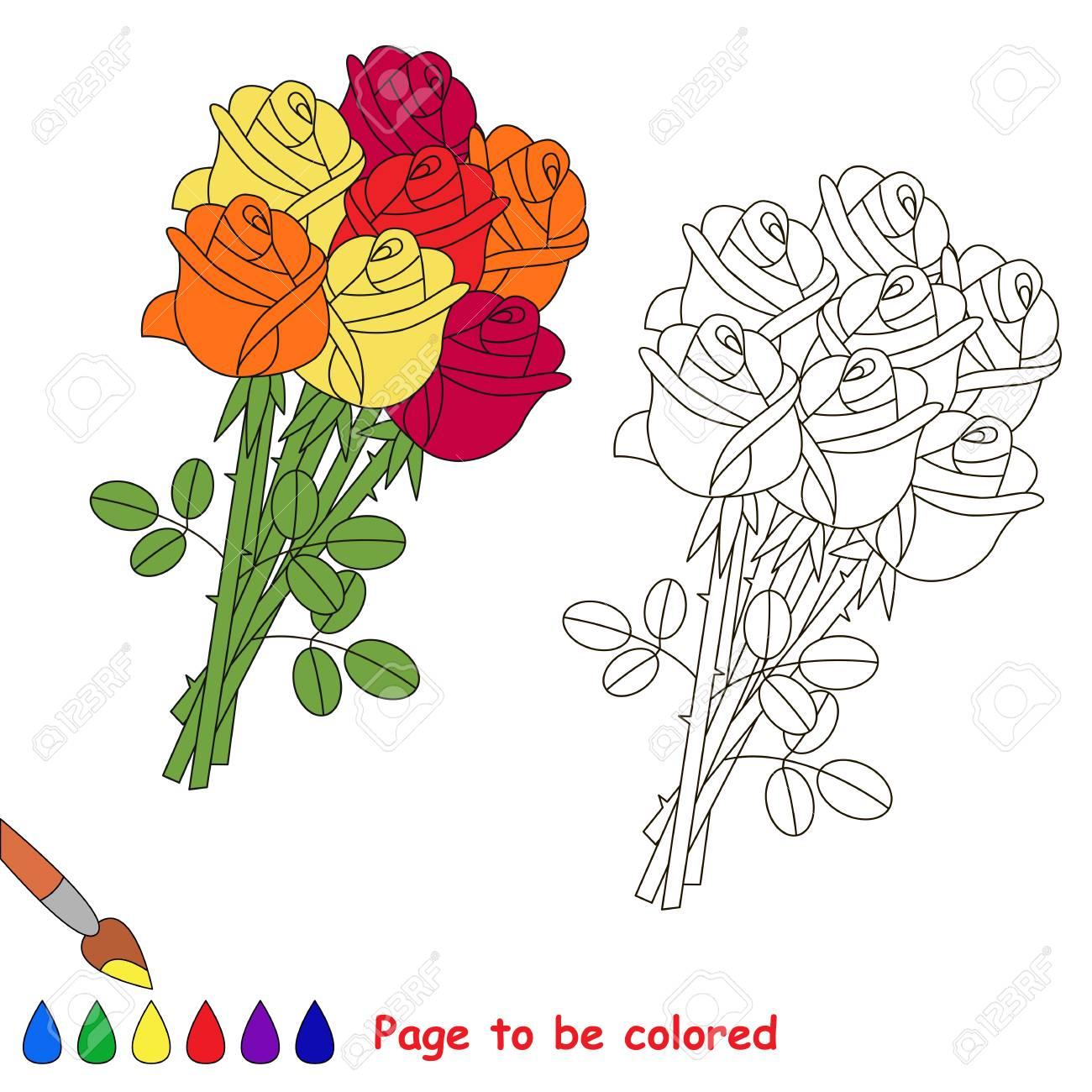 Rose Bouquet à Colorier Le Livre De Coloriage Pour Les Enfants D âge Préscolaire Avec Un Niveau De Jeu éducatif Facile