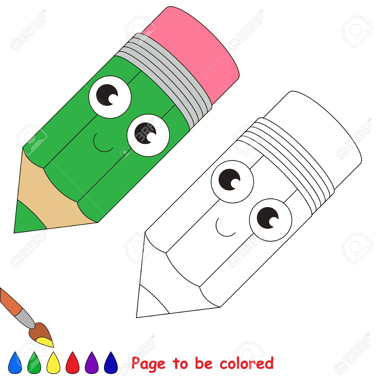 Funny Beautiful Green Pencil To Be Colored, The Coloring Book ...