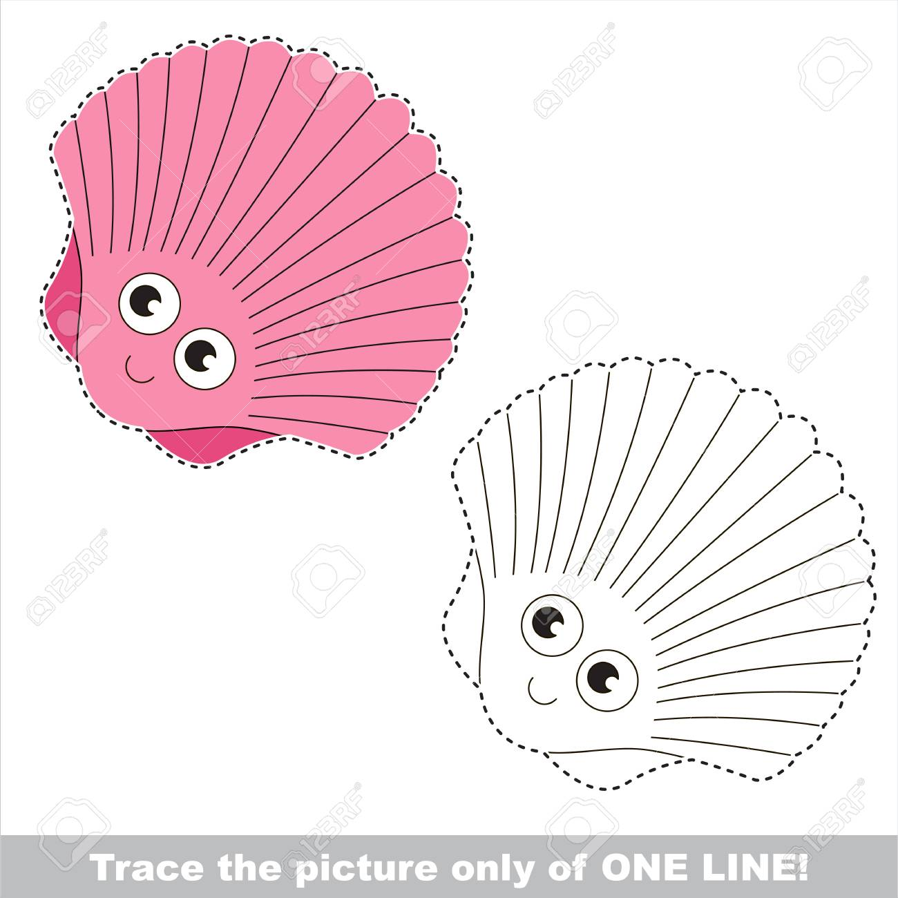 Funny Beautiful Pink Seashell Dot To Dot Educational Game For