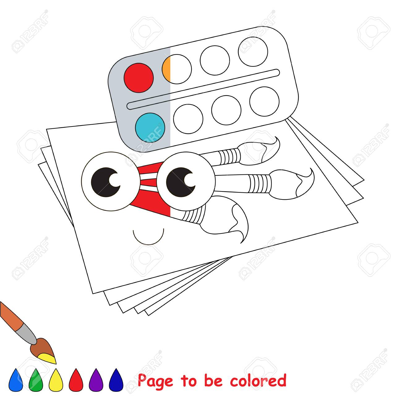 Funny Watercolor Set With Paper And Brushes The Coloring Book To Educate Preschool Kids