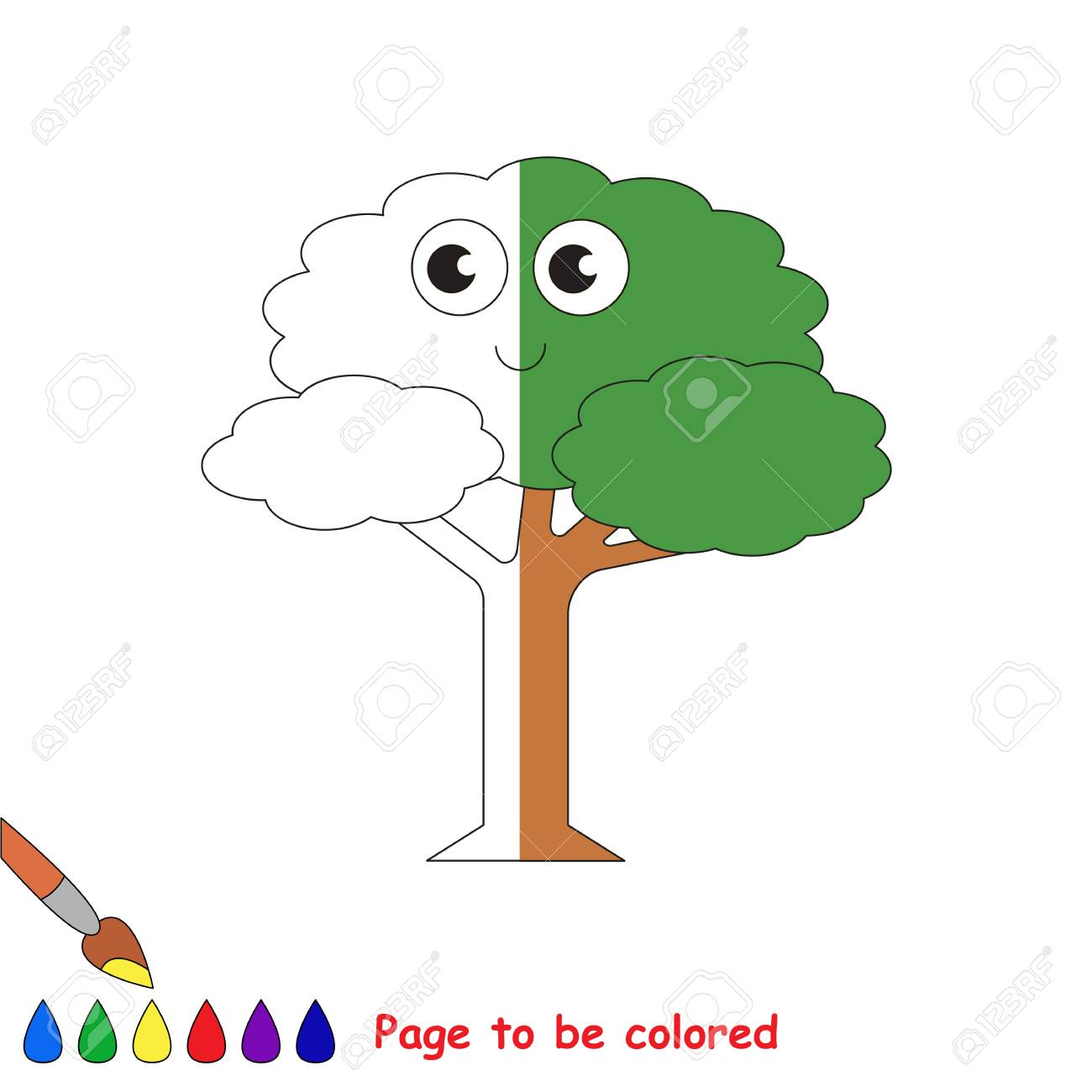 Leaf Tree, The Coloring Book To Educate Preschool Kids With Easy ...