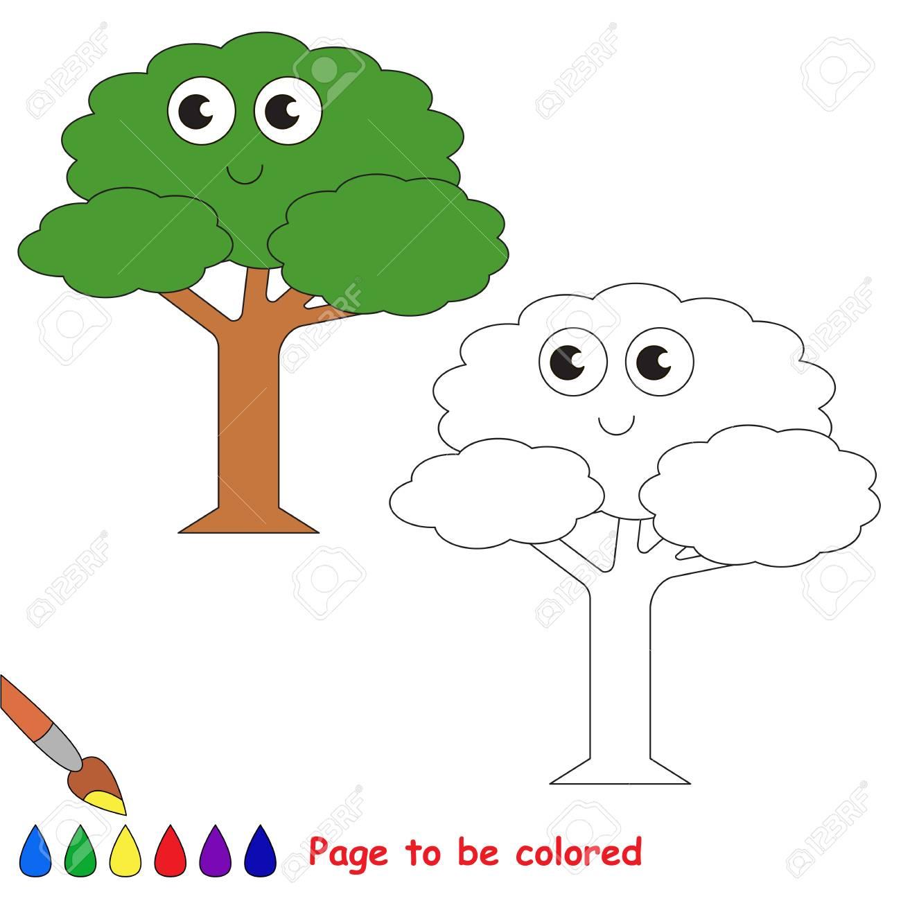Vettoriale Divertente Bellissimo Albero Verde Da Colorare Il