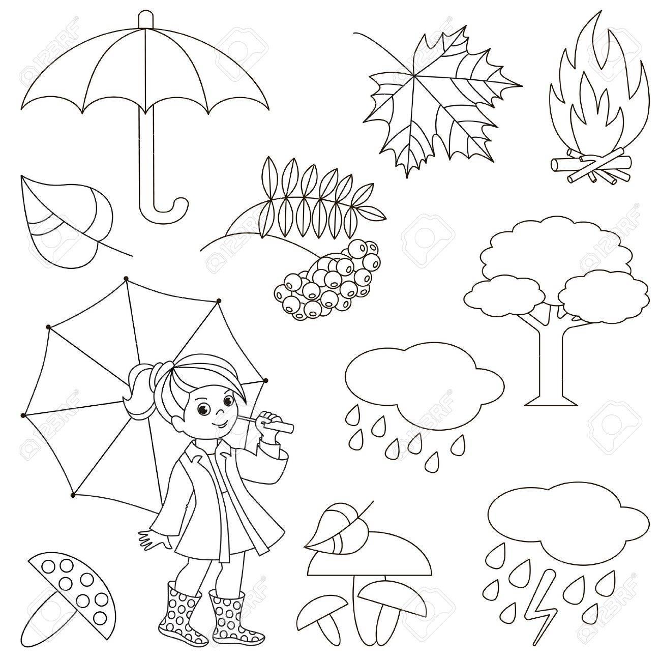Conjunto De Elementos De Otoño Colección De Plantilla De Libro Para Colorear El Grupo De Elementos Digitales De Esquema Vector Ilustración
