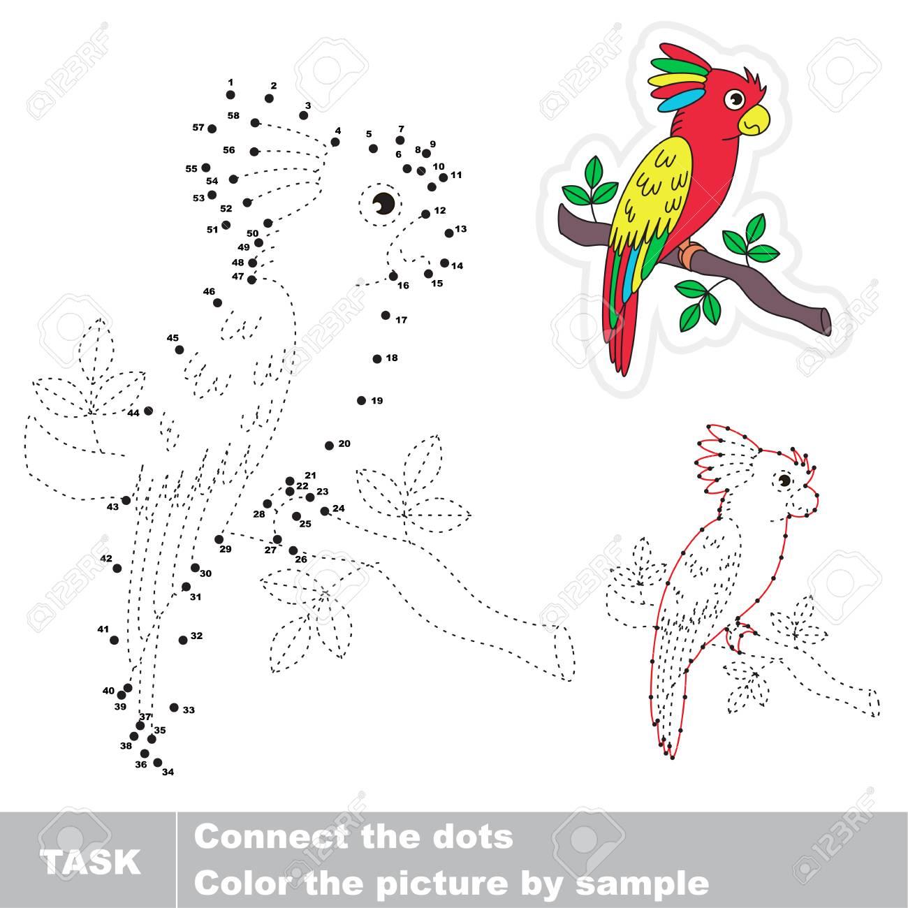 Schöner Bunter Papagei. Von Punkt Zu Lernspiel Für Kinder Dot ...