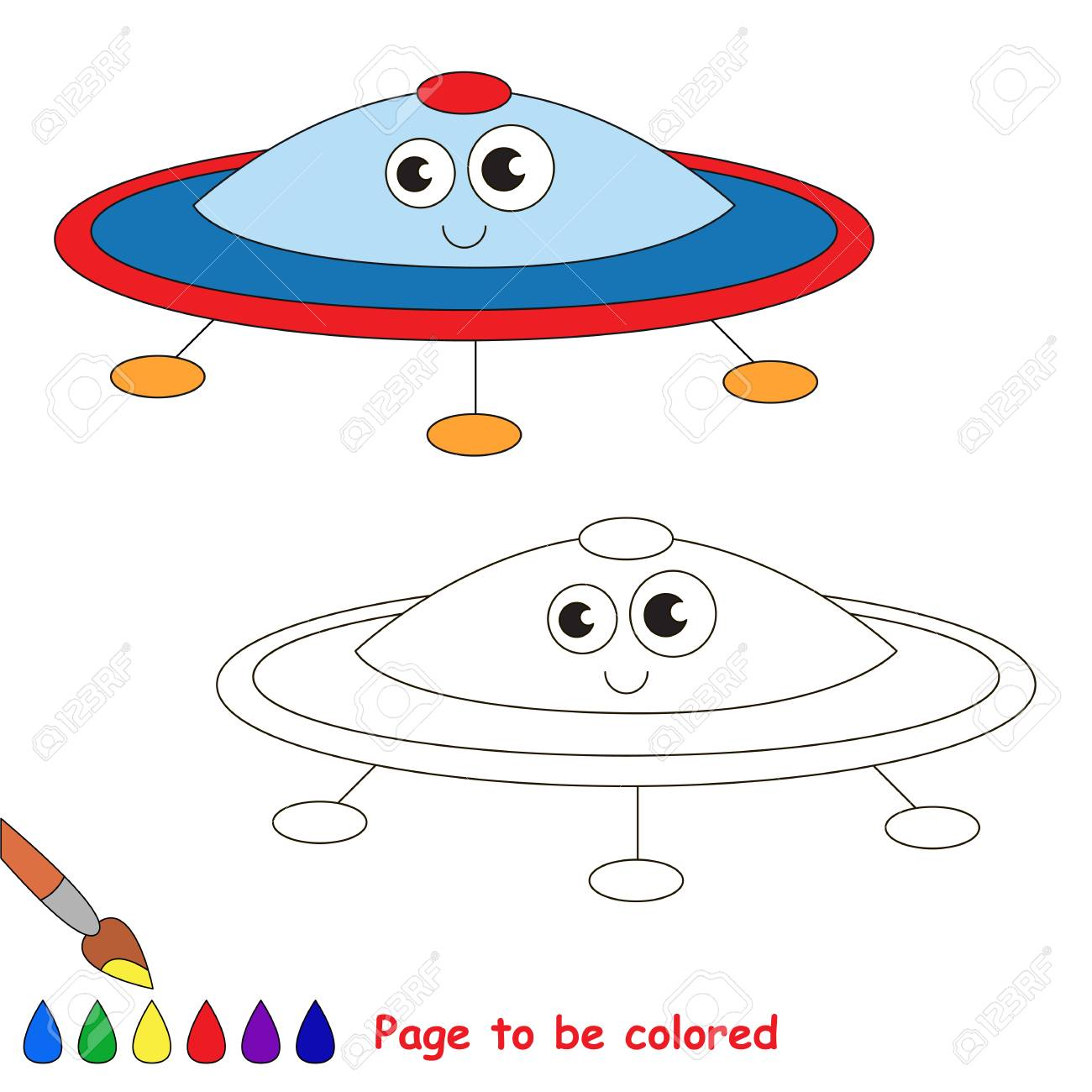 Ufo To Be Colored The Coloring Book For Preschool Kids With