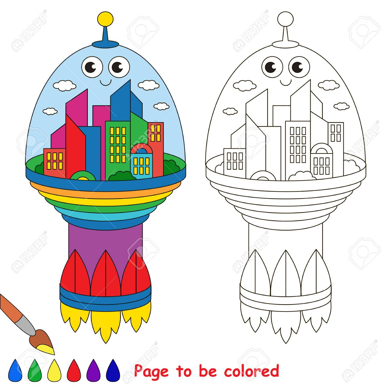 space city to be colored the coloring book for preschool kids with easy educational gaming level