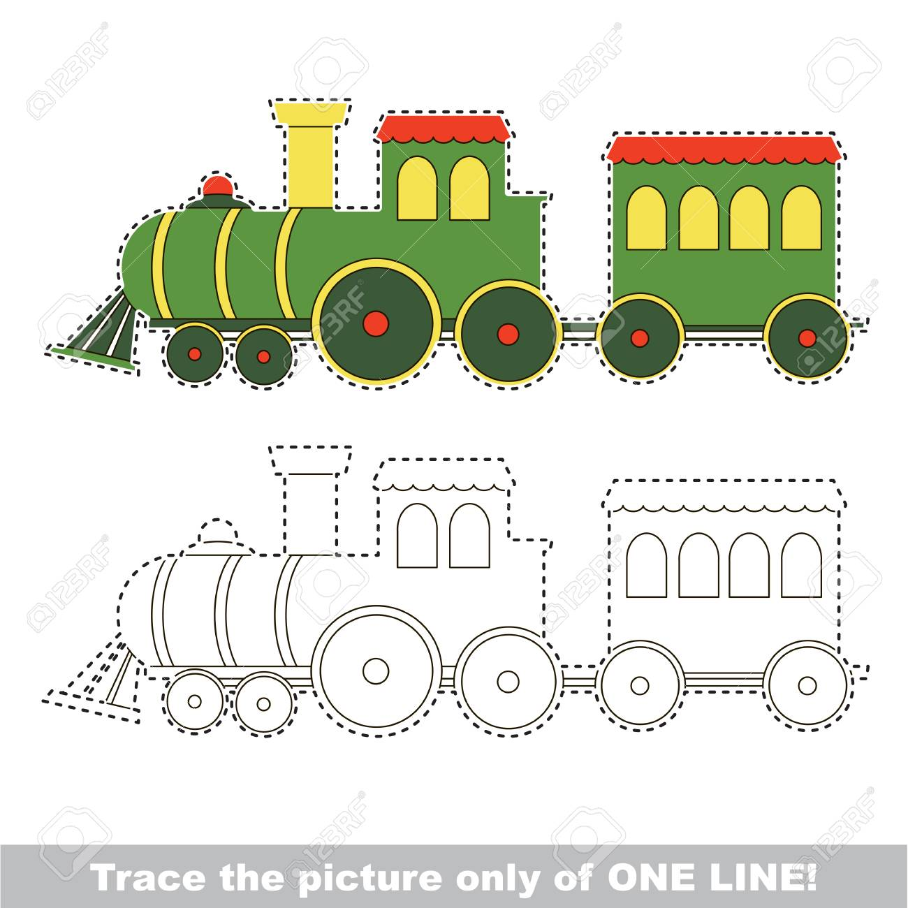 Toy Train To Be Traced Only Of One Line, The Tracing Educational ...