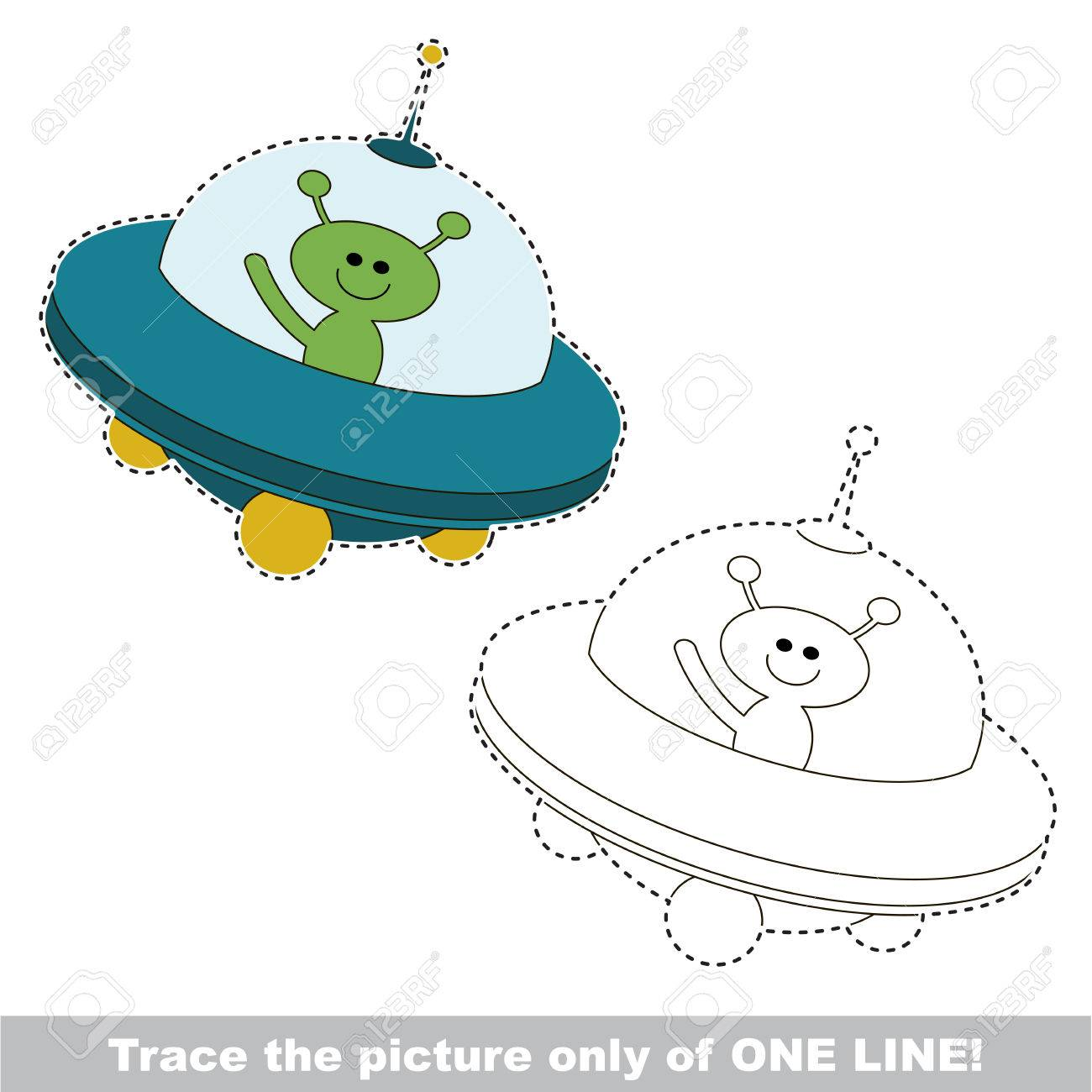 Ufo To Be Traced Only Of One Line The Tracing Educational Game