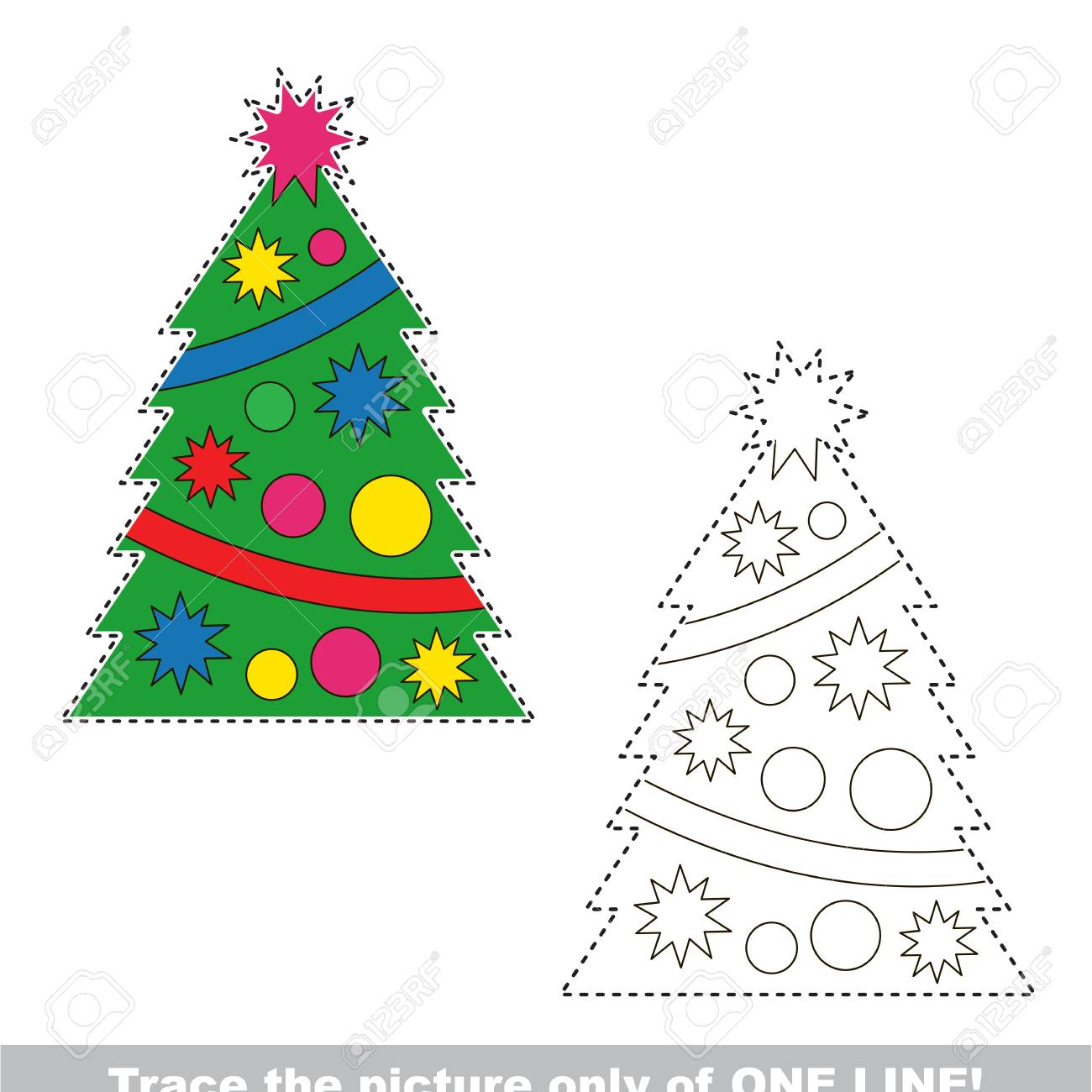 New Year Christmas Tree To Be Traced Only Of One Line, The Tracing ...