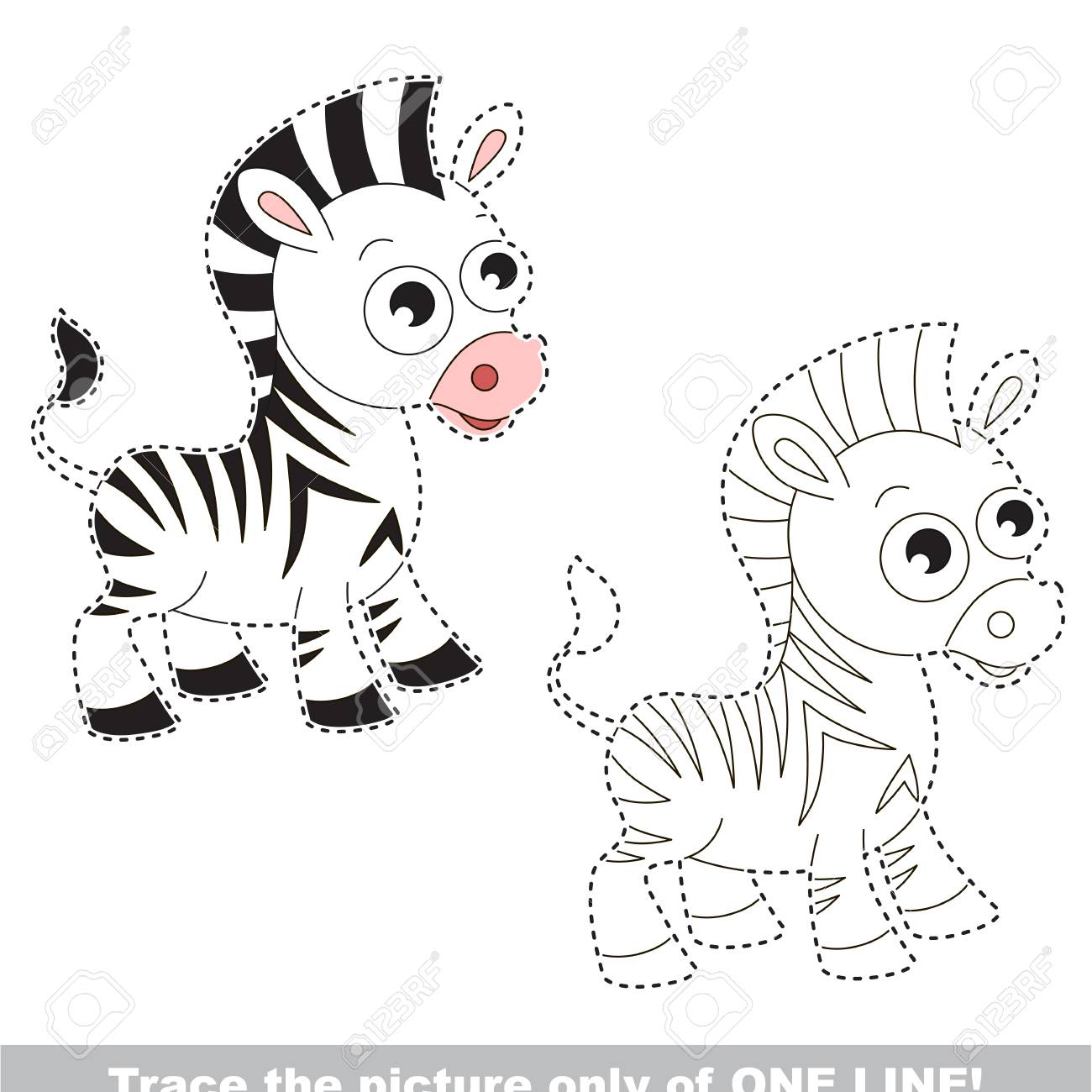 Vector   Zebra Horse To Be Traced Only Of One Line, The Tracing Educational  Game To Preschool Kids With Easy Game Level, The Colorful And Colorless  Version.