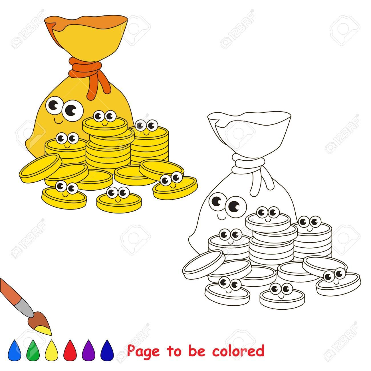 Vettoriale Un Sacco Di Monete In Oro Da Colorare Il Libro Da