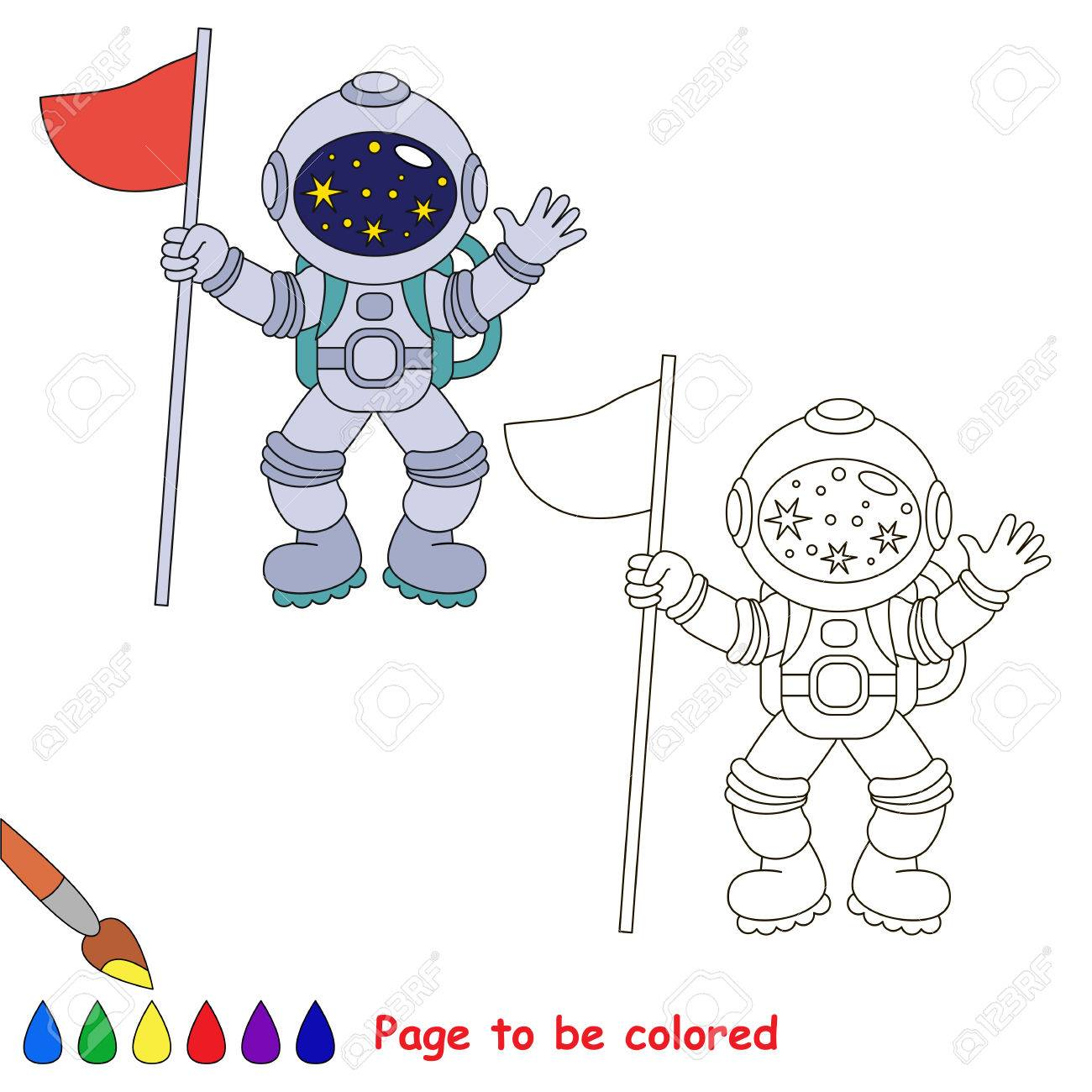 Spaceman with Flag to be colored, the coloring book for preschool..
