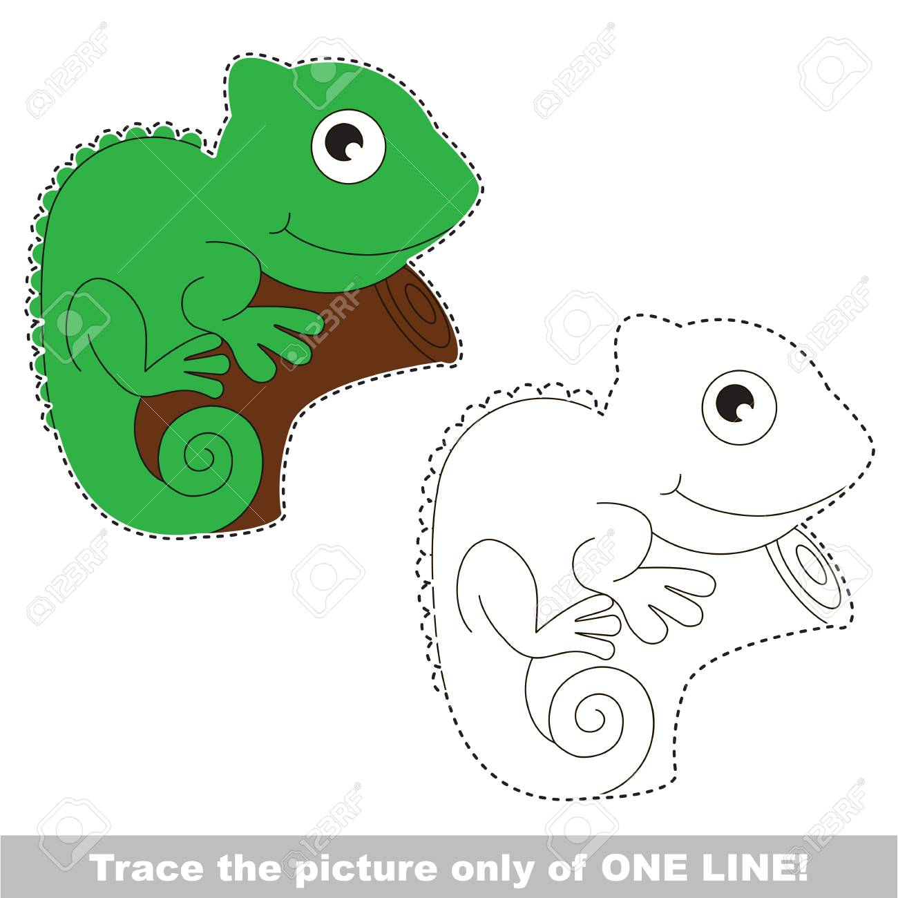 Green Iguana. Dot To Dot Educational Game For Kids, The One Line ...