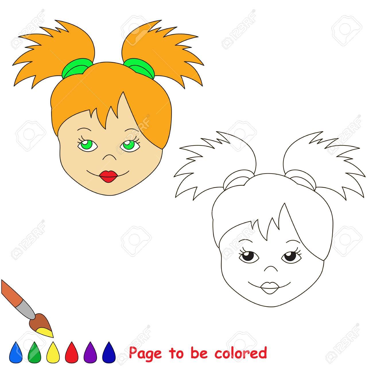 Cara De Muñeca Para Colorear El Libro Para Colorear Para Niños Preescolares Con Nivel De Juego Educativo Fácil