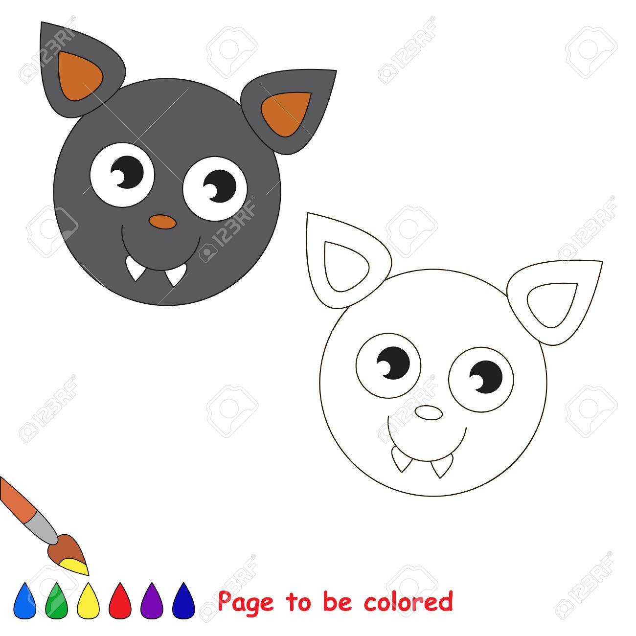 Vampire Bat Head To Be Colored The Coloring Book For Preschool