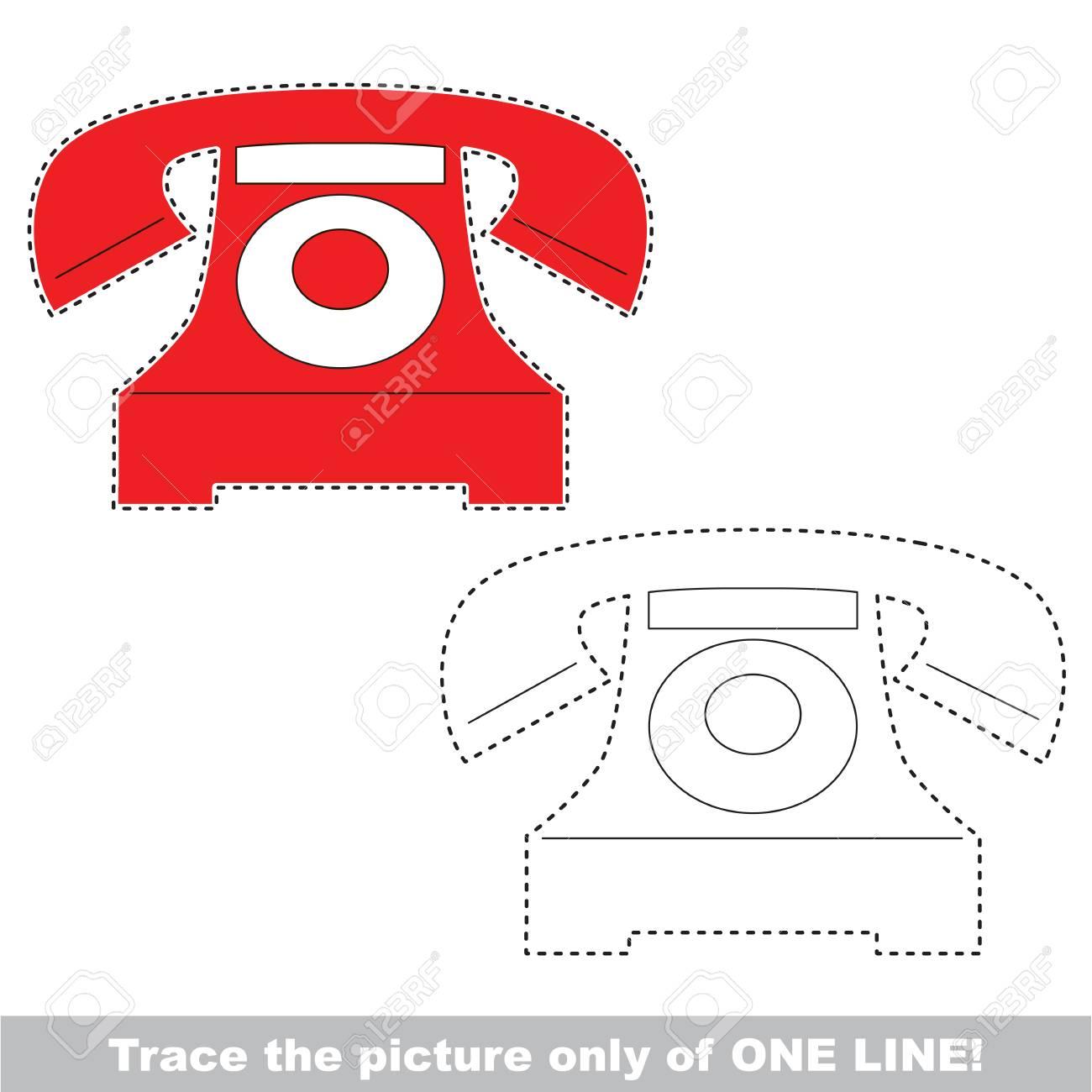 Telefon. Punkt Zu Punkt Lernspiel Für Kinder, Die One-Line-Tracing ...
