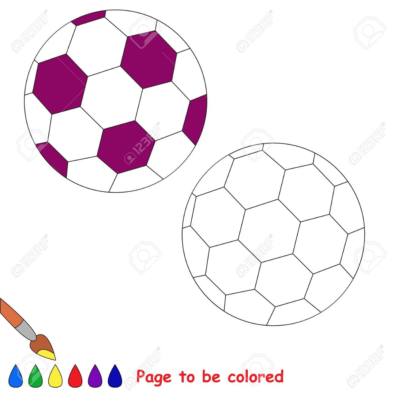 - Football Ball To Be Colored, The Coloring Book For Preschool