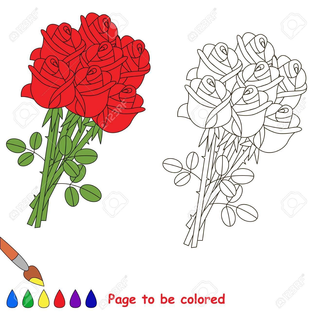Beau Bouquet De Roses Rouges A Colorier Le Livre De Coloriage Pour Les Enfants D Age Prescolaire Avec Un Niveau De Jeu Educatif Facile Clip Art Libres De Droits Vecteurs Et Illustration