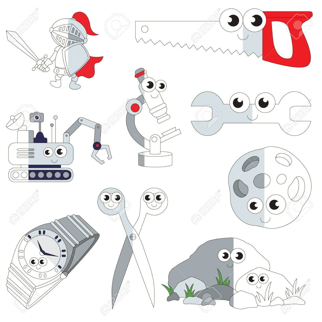 Funny Grey Color Objects, The Big Collection Coloring Book To ...