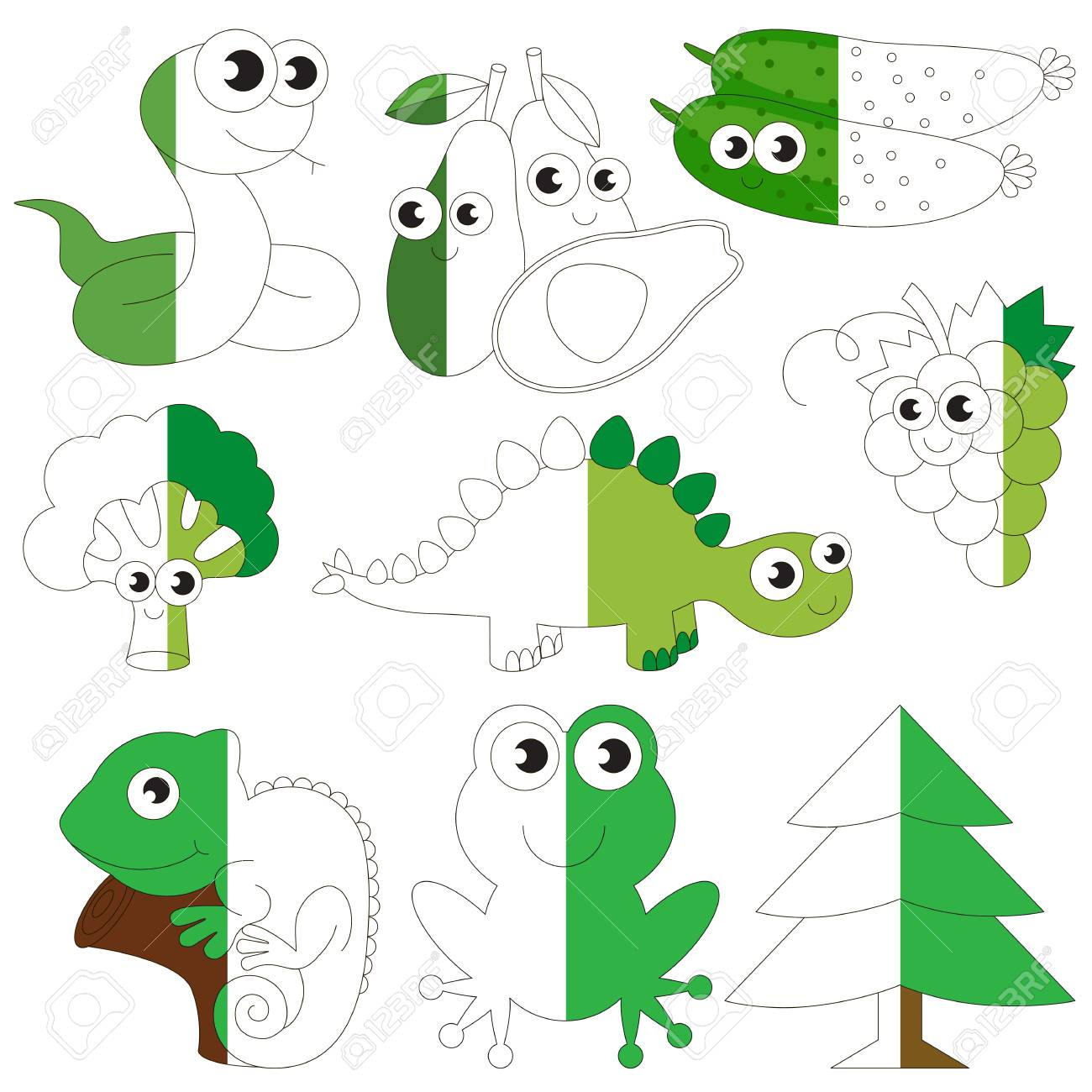 Funny Green Color Animals, Fruits And Vegetables, The Big Collection ...