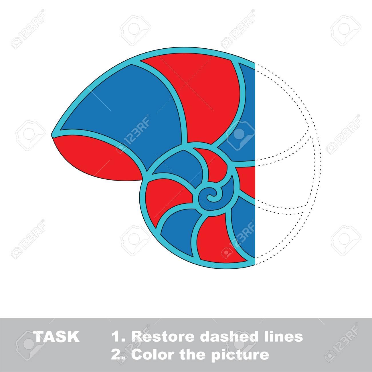 Red And Blue Nautilus Shell. Dot To Dot Educational Game For ...