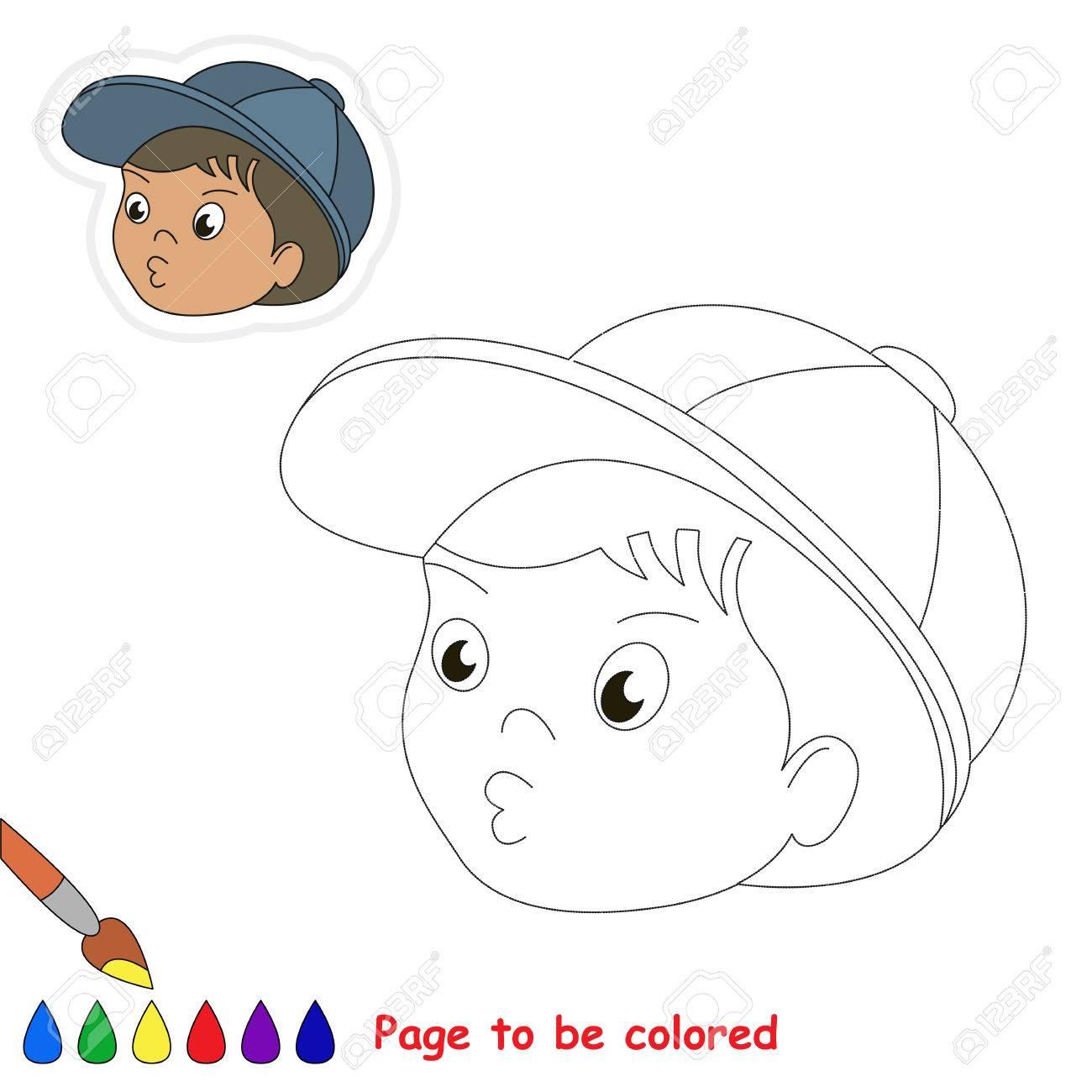 Cabeza De Niño Para Colorear El Libro Para Colorear Para Niños En Edad Preescolar Con Nivel Fácil De Juego Educativo