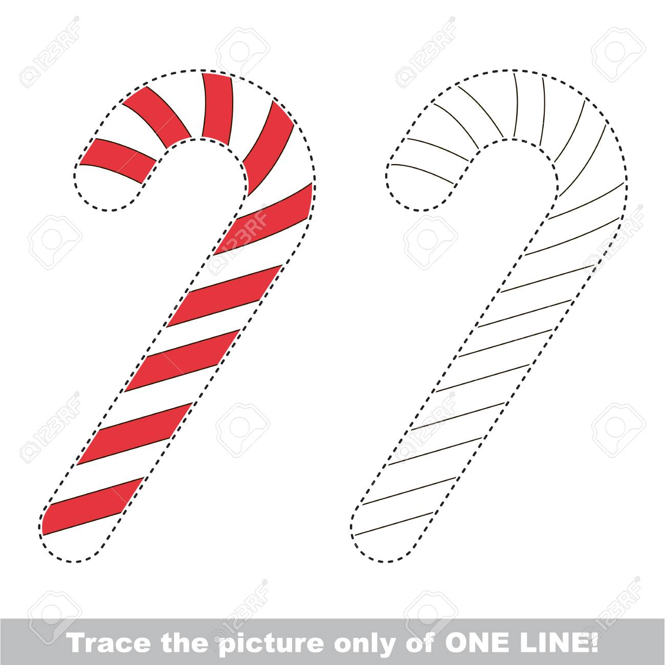 christmas candy cane dot to dot educational game for kids trace only of one