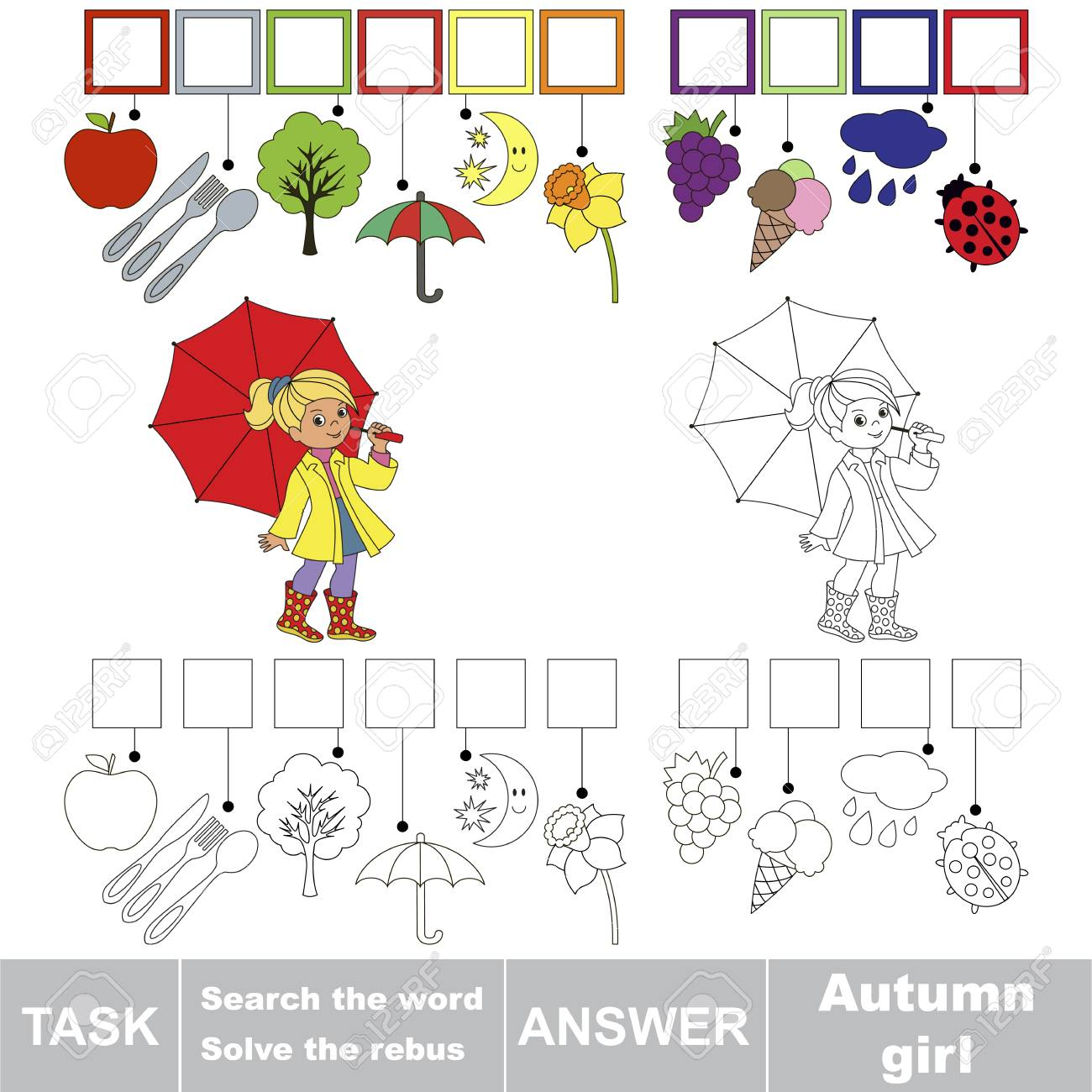 Educational Puzzle Game For Kids Find The Hidden Word Autumn