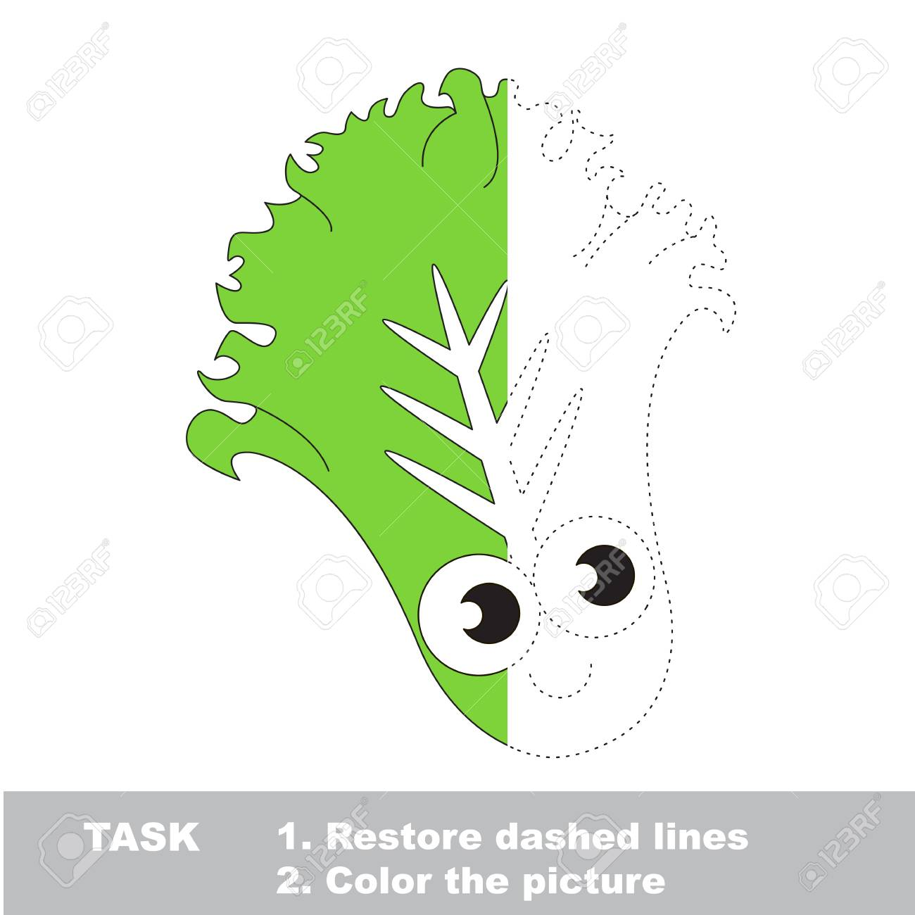Cute Lettuce. Dot To Dot Educational Game For Kids. Half Tracing ...