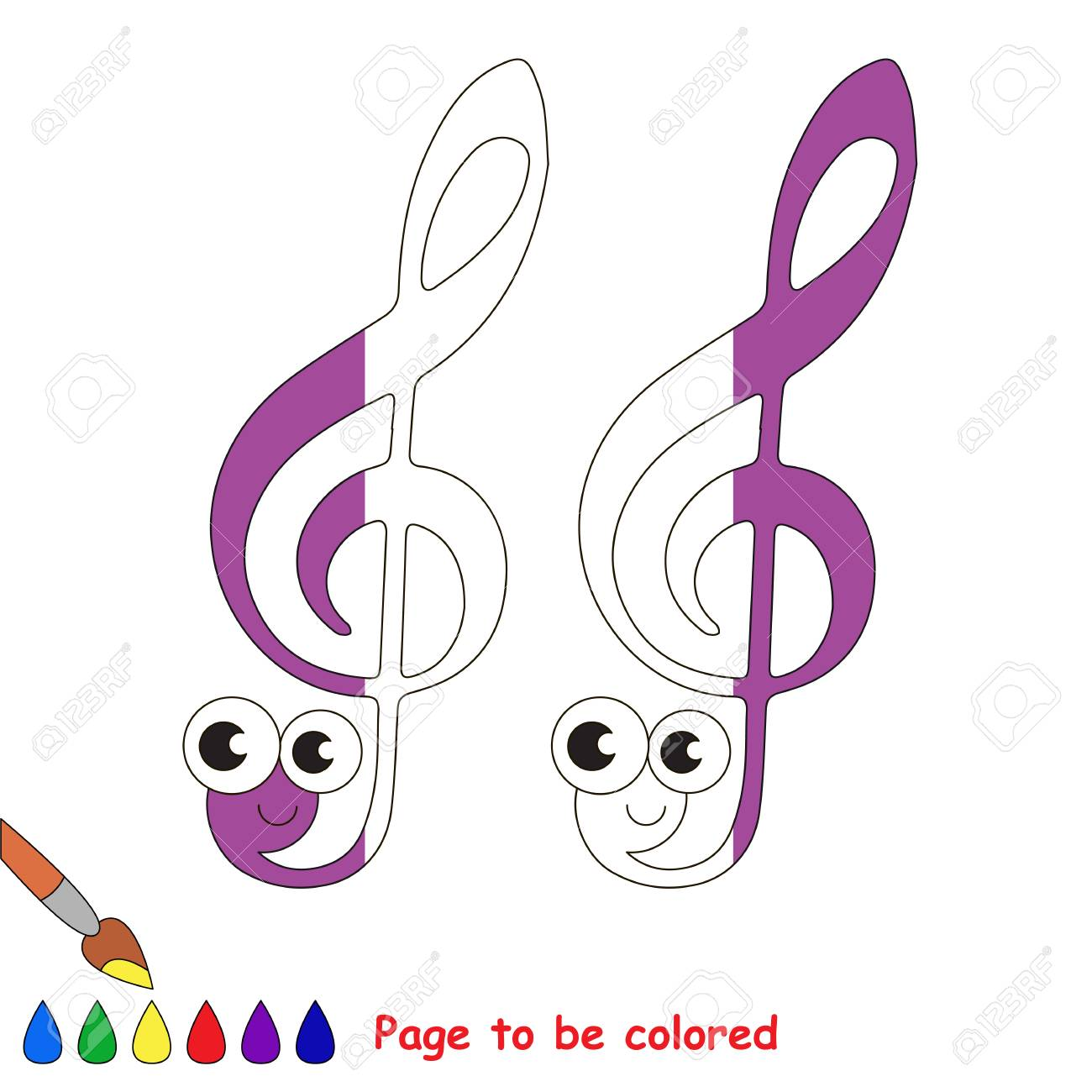 Funny Treble Clef, The Coloring Book To Educate Preschool Kids ...