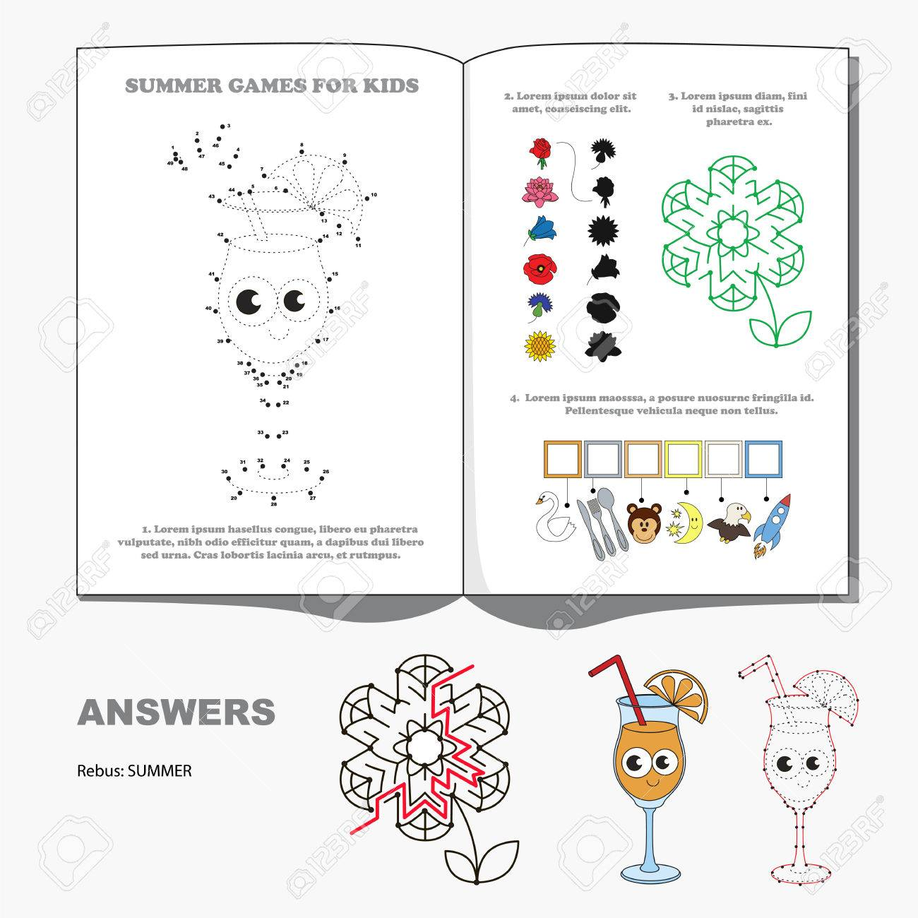 Summer Seasonal Page With Kid Games Hidden Word Maze Way And