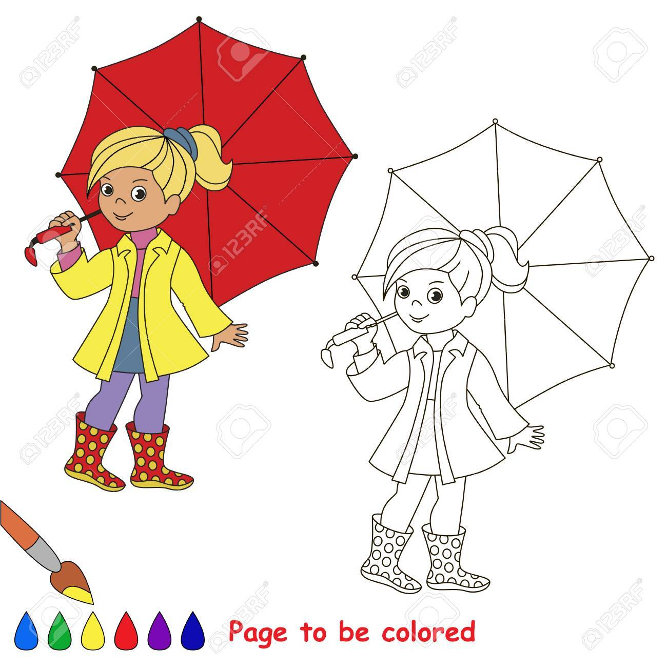 Girl And Red Umbrella To Be Colored The Coloring Book For Preschool Kids With Easy