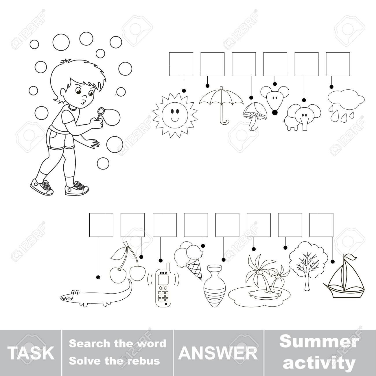 Educational Puzzle Game For Kids Find The Hidden Word Summer