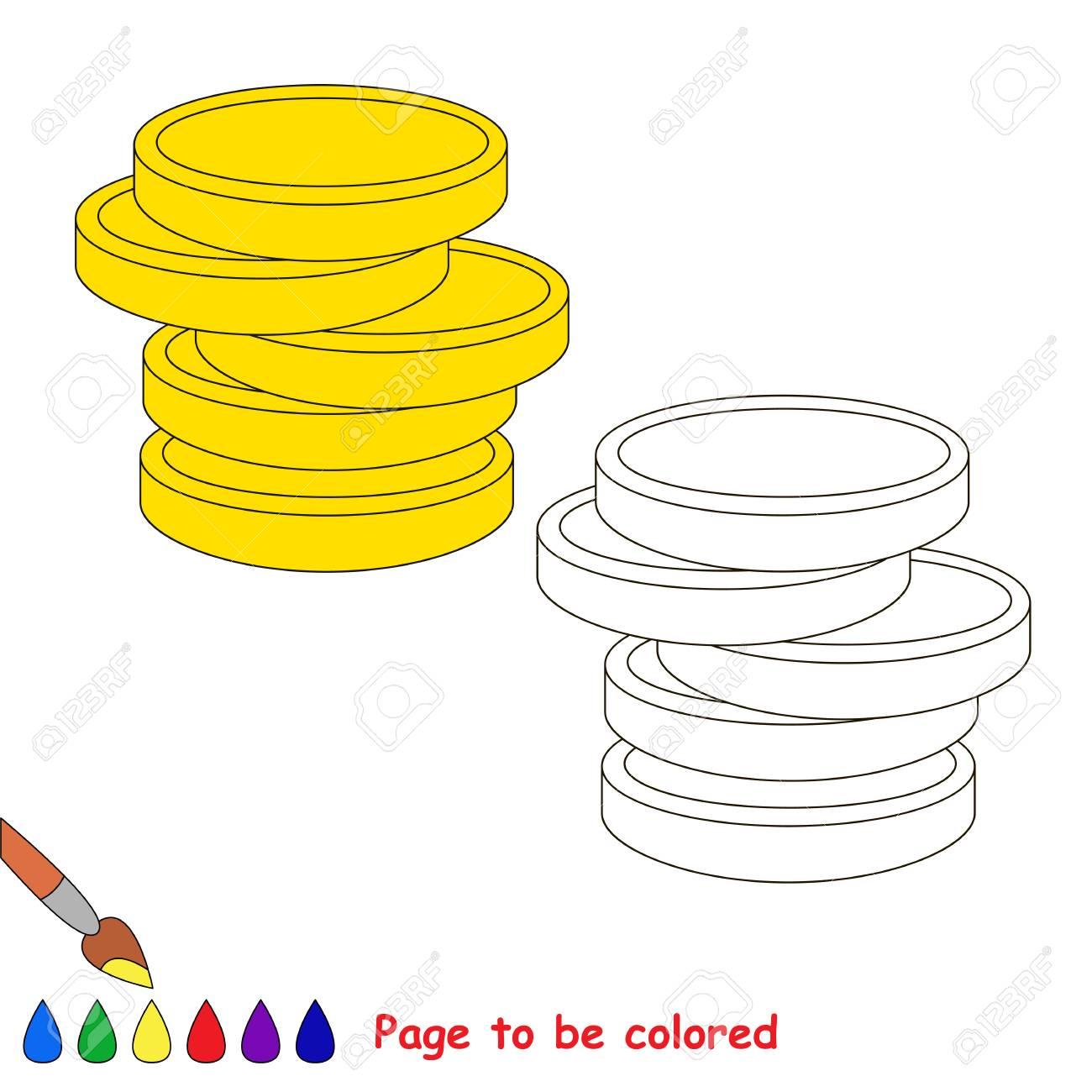 Dinero En Efectivo Monedas De Oro Para Colorear El Libro Para Colorear Para Niños En Edad Preescolar Con Nivel De Juego Educativo Fácil