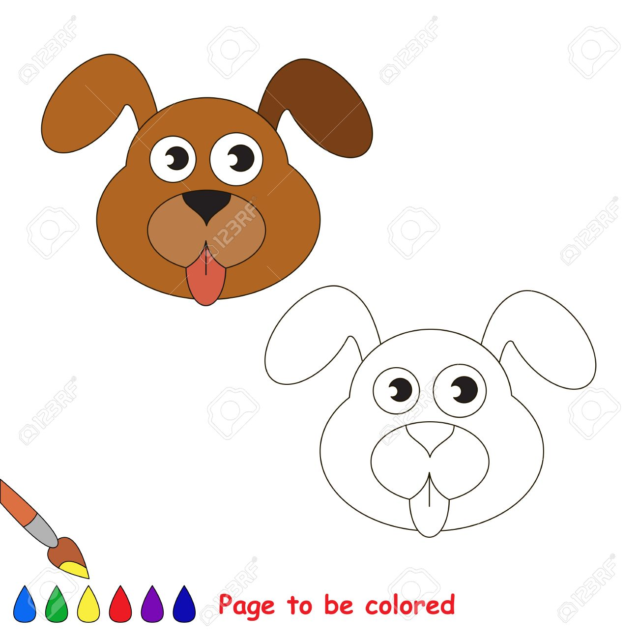 Dog Face To Be Colored The Coloring Book For Preschool Kids With Easy Educational Gaming